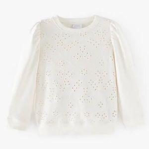 Zara Girls size 10 Off White Eyelet Front Puff Shoulder Sweater